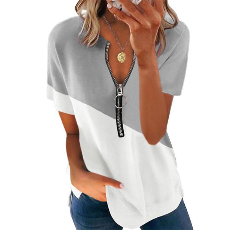 Frauen T-Shirt Plus Size Frauen Sommer Mode Reißverschluss V-Ausschnitt Farbblock Kurzarm Tshirt Streetwear Büro Dame Lose T Shirts
