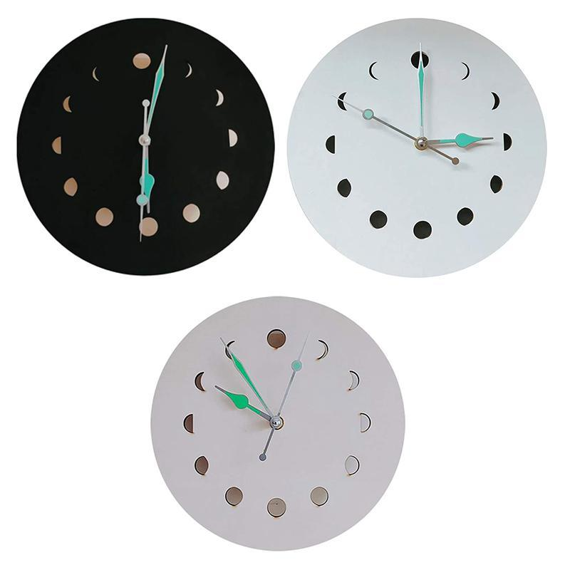 ساعة الحائط ساعة مضيئة خشبية دورة القمر تزيين المنزل مع الخلفية