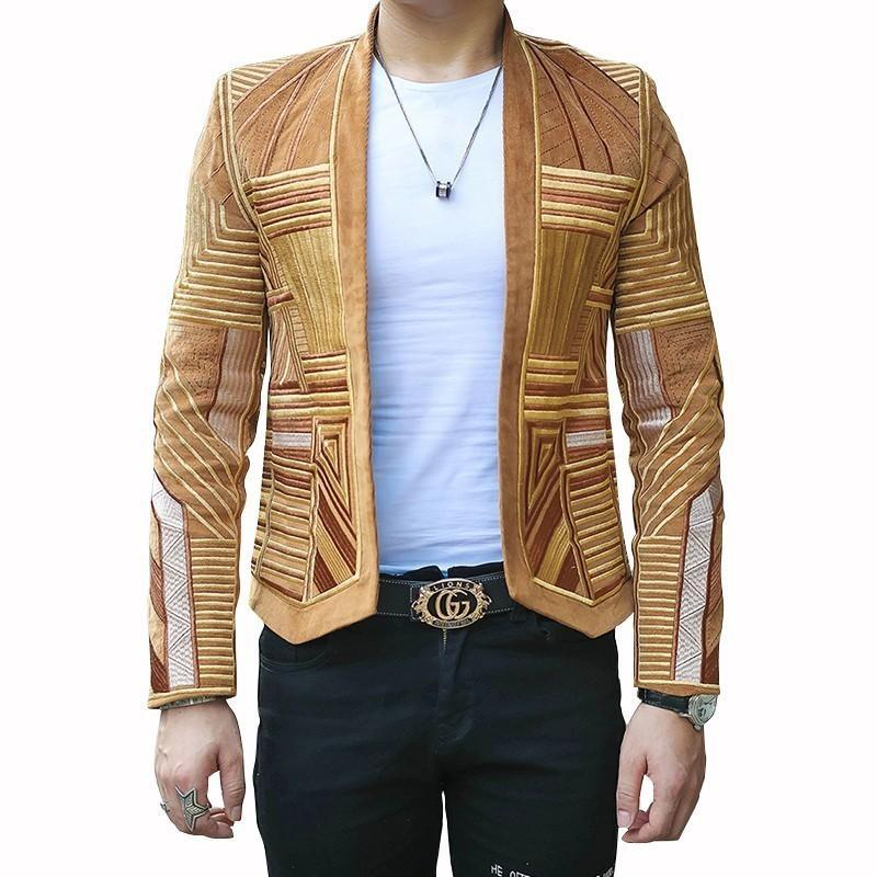 Men's Suits & Blazers Designer Mens Blazer Jacket Men Stage Party Hight Quality Corduroy Embroidery Suit Slim Fit