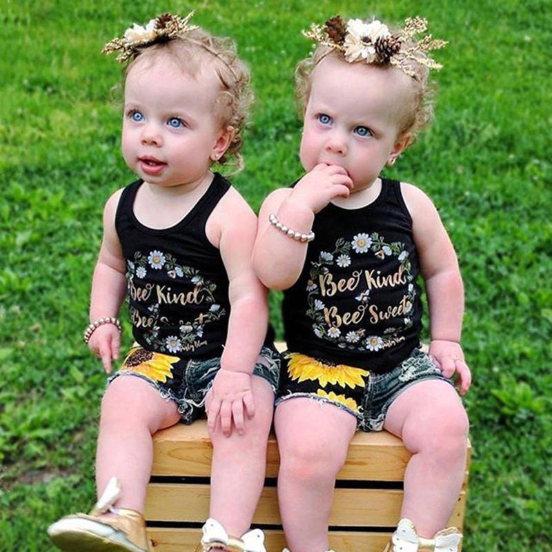 Toddler Baby Girls Boys Letter Print Vest Tops +Sunflower Denim Shorts Outfit Girl Clothes Ropa Niña Meisjes Kleding Clothing Sets