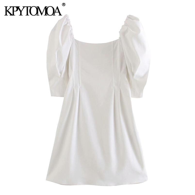 Kadınlar Zarif Moda Puf Kollu Mini Elbise Kare Yaka Geri Fermuar Kadın Elbiseler Vestidos Mujer 210420