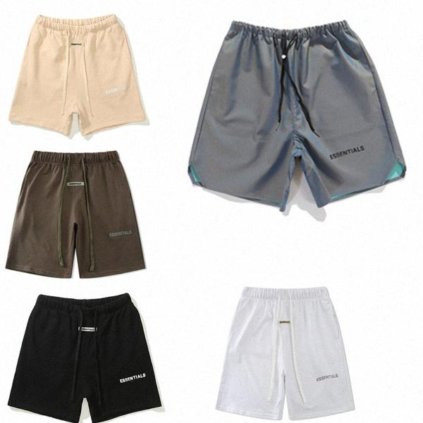 2021SS Hemado reflectante a Dios Pantalones cortos para hombre Pantalones Esenciales casuales Pantalones impresos con letras con bucles sueltos Hip-hop FOG FOG PARA MUJERES SOMBRA SHH0AO #