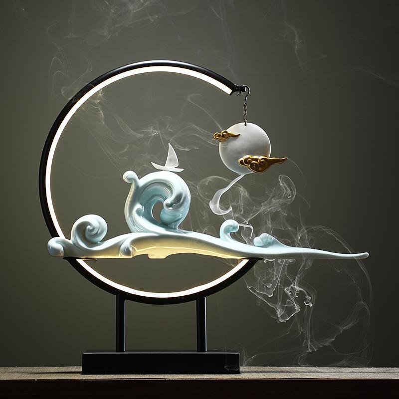 Keramik modern großer Rückfluss Räucherbrenner Lampe LED-Lichthalter Aroma Kerze Bruciatore Incenso BK50xx Duftlampen