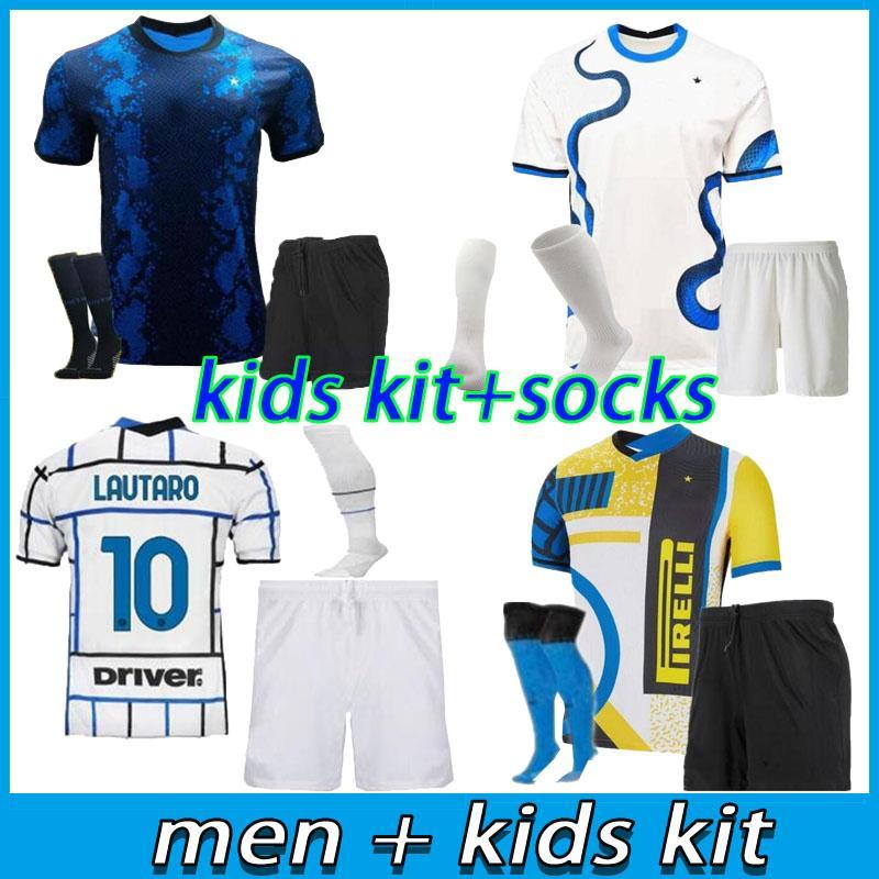 الرجال + الاطفال كيت 2021 2022 انتر باريلا لكرة القدم الفانيلة 21 22 لوكو ميلان فيدال لاوتارو إريكسين الكسيس هكيمي دي VRIJ قميص كرة القدم الرابع