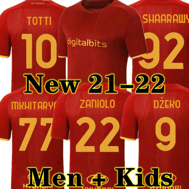 Neue 20 21 Dzeko Perotti Pastore Zaniolo Roma de AS Roma Fussball Jersey Totti Jersey 2020 2021 Erwachsene Männer + Kinder Kit Fußball Hemd
