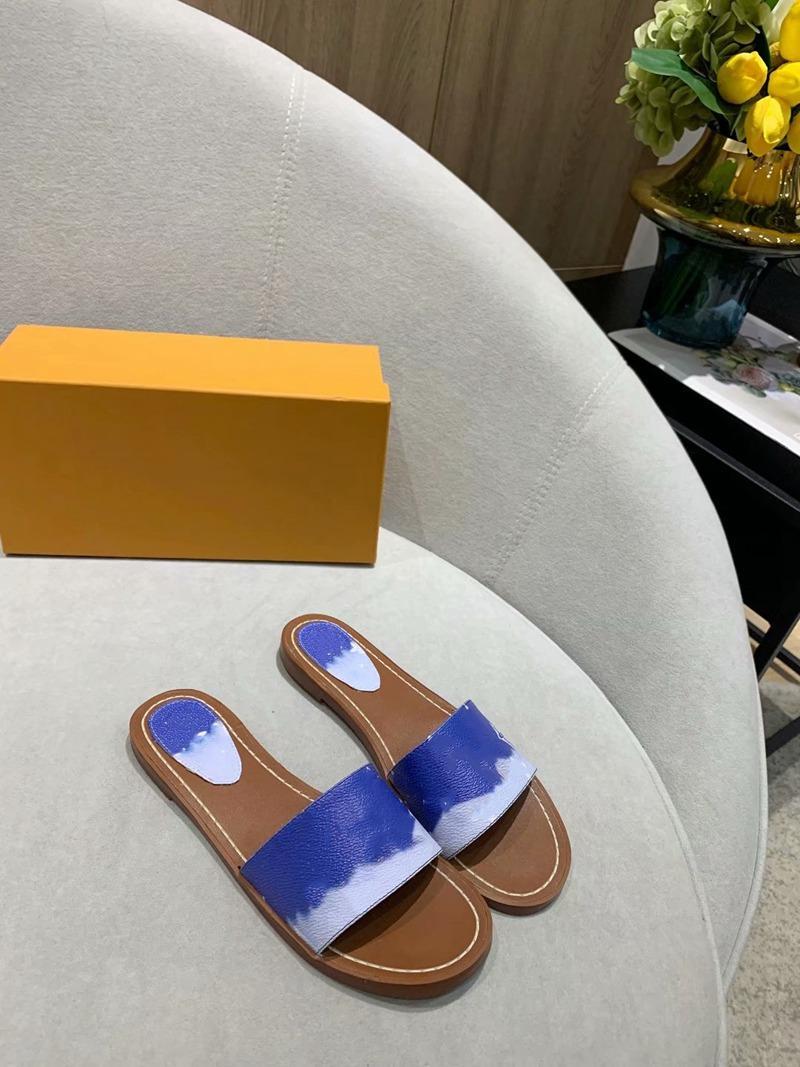 Escale Kilit Düz Katır Yaz 2021 Kadınlar Progettista Renkli Sandalet Patent Kravat Boya Tuval Yastıklı Topuk Deri Taşlar Terlik Boyutu 35-42