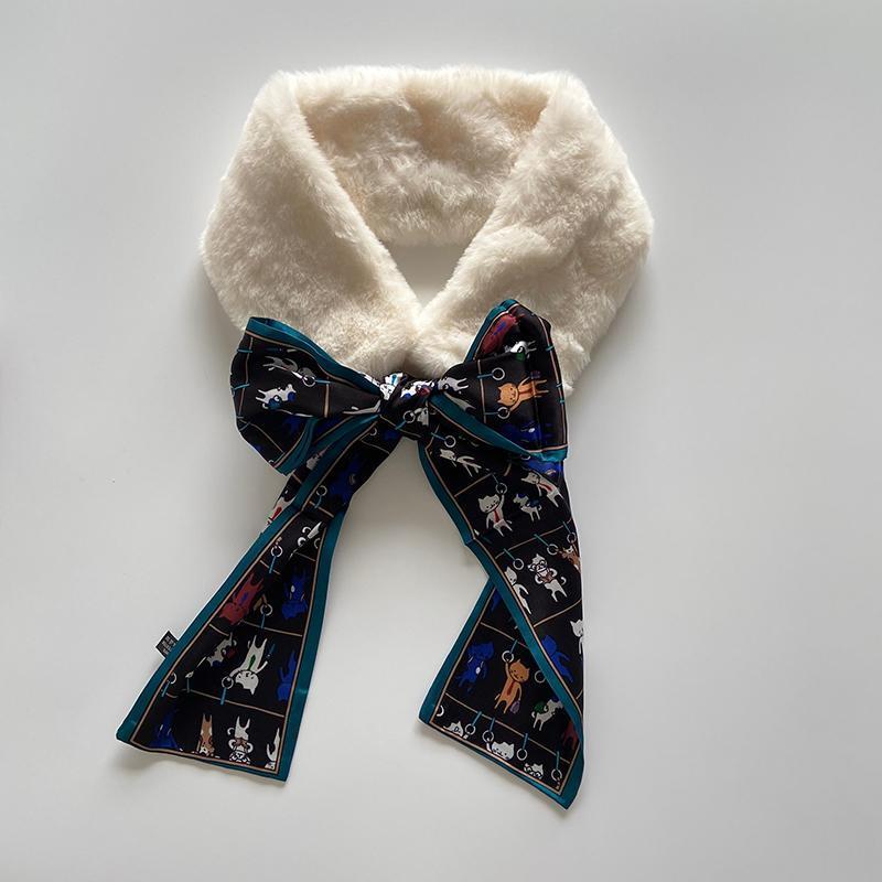Hiver élégant blanc fauvette en fausse fourrure foulard dames épaisses col chaud pour femme manteau bufandas invikno mujer foulards foulards