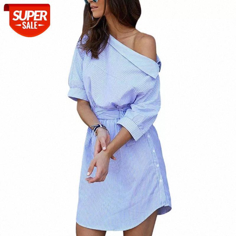 Vestido azul camisa de listra mulheres sexy fora do ombro faixas meia manga mini elegante botão lateral split split sundress plus size festa # sx6m