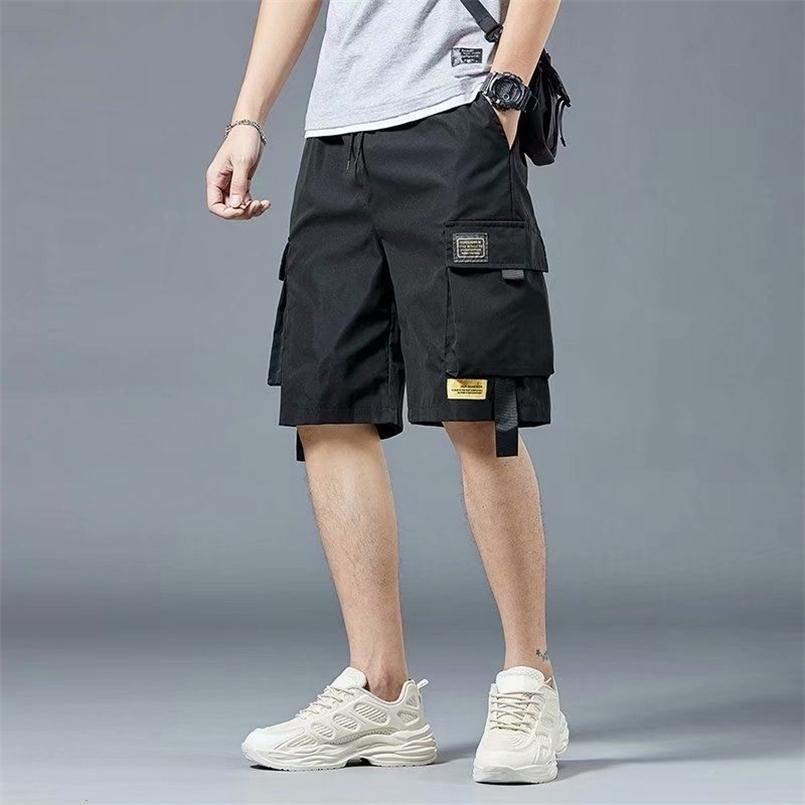 Pantalones cortos casuales de verano Hombres bolsillos Pantalones de carga negros para Masculinas Daily Sport Streetwear Techwear Ejército Playa 210729