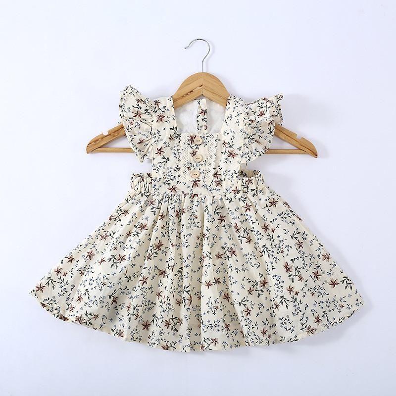 2-7Y Children Girls Dress Summer Toddker Kids Princess Clothing Ruffles Dots Flower Print A-line Holiday Sundress Dresses Girl's