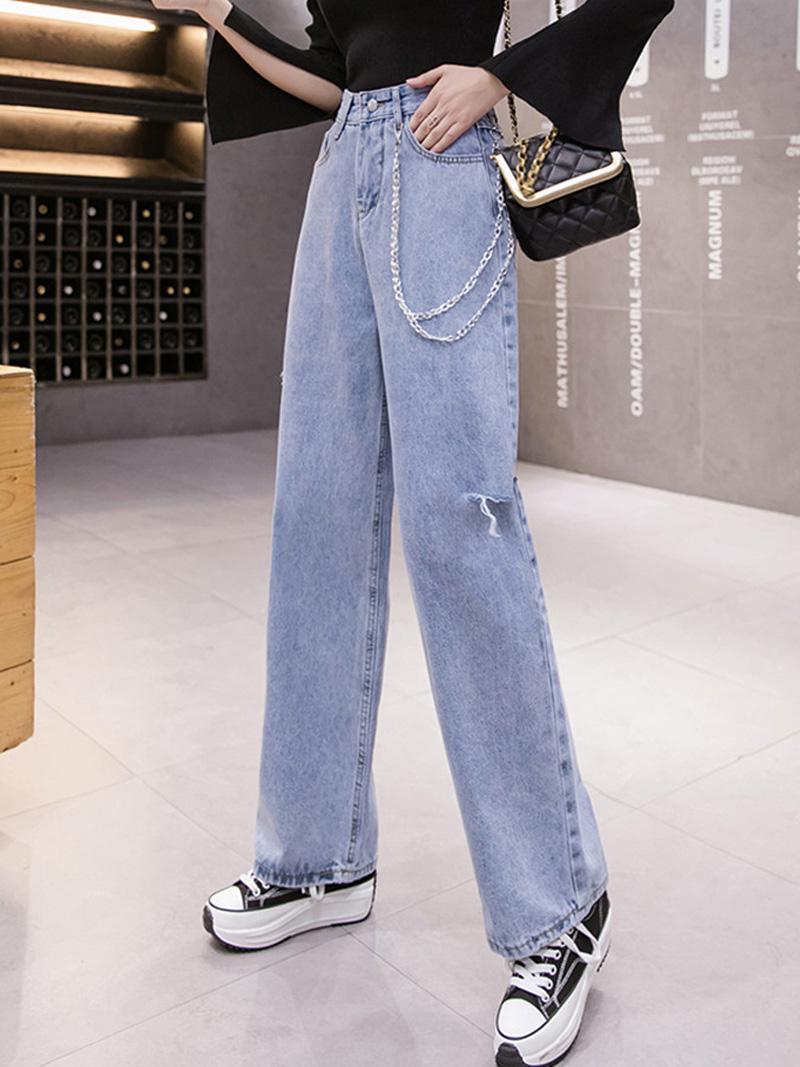 Limiguyue Spring женщины разорванные джинсы джинсовые брюки широкие брюки ноги повседневные шикарные прямые брюки дырки парень нижний джинс k070