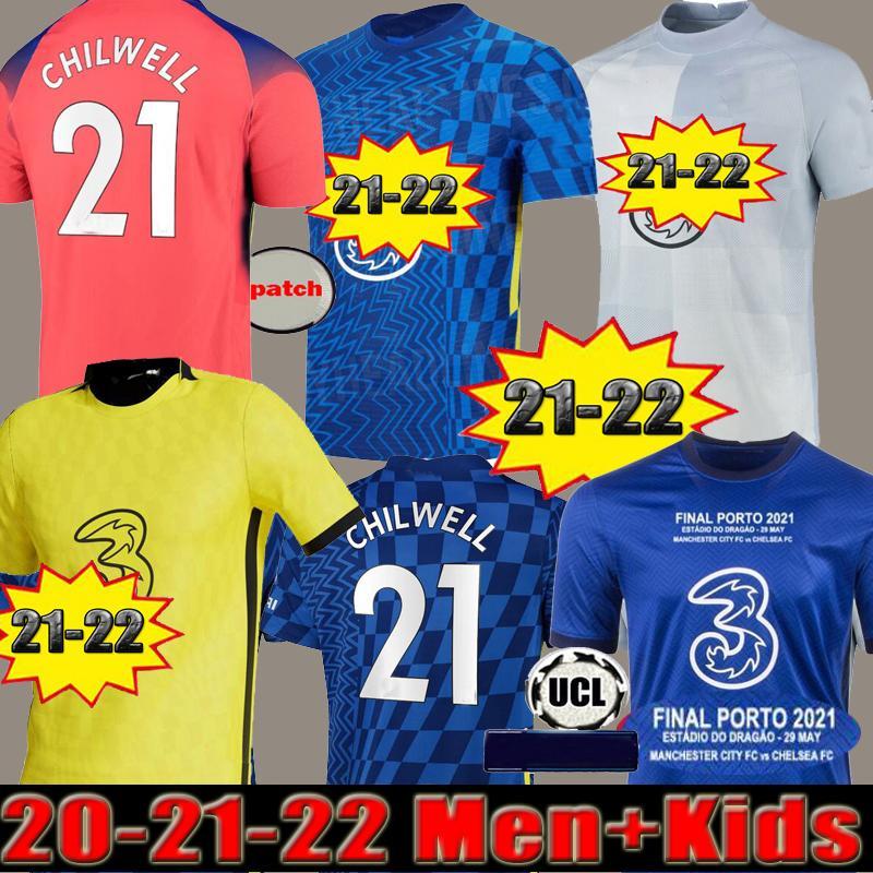Chelsea CFC PULISIC ZIYECH HAVERTZ KANTE WERNER ABRAHAM CHILWELL MOUNT JORGINHO camiseta de fútbol 2022 2021 camiseta de fútbol chandal de la GIROUD 22 21 kit para hombres + niños