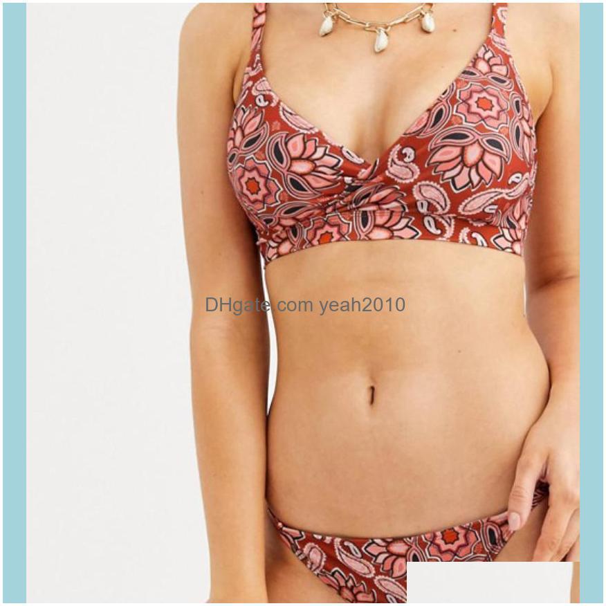 Swimming Equipment Sports & Outdoorssummer Print Solid Beach Swimsuit Swimsuits For Women Sexy Halter Backless Swimwear Thong Female Bikini