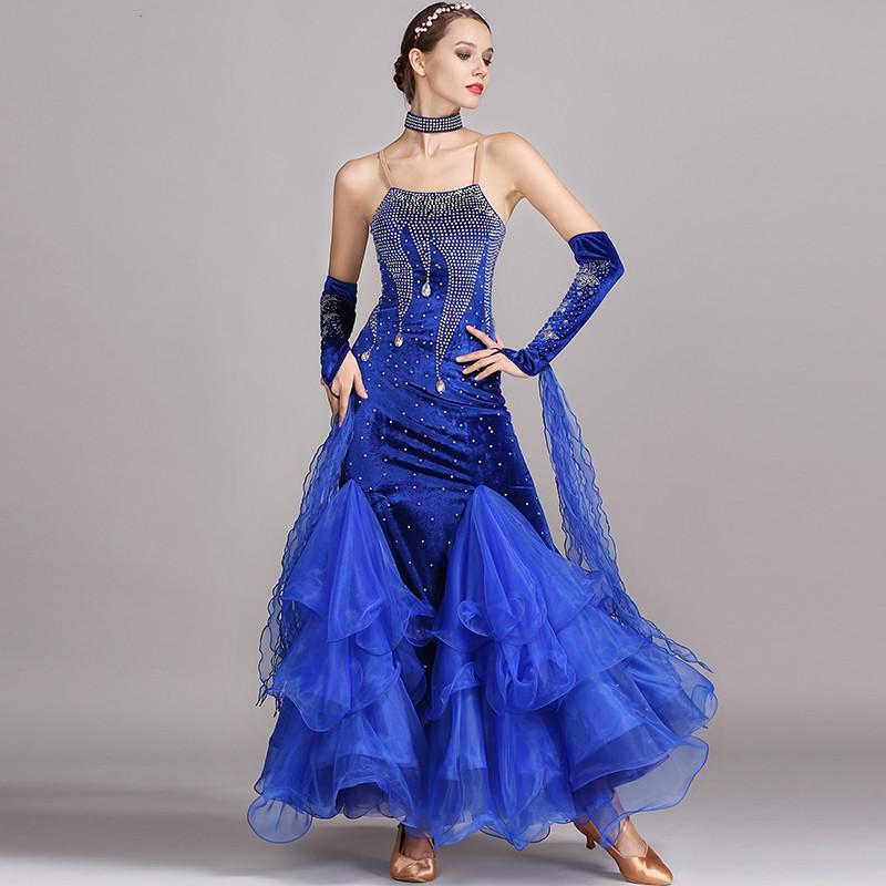فساتين الشتاء للقاعة الرقص الفالس الرقص رداء دانس قياسي مسابقة المرأة مرحلة ارتداء