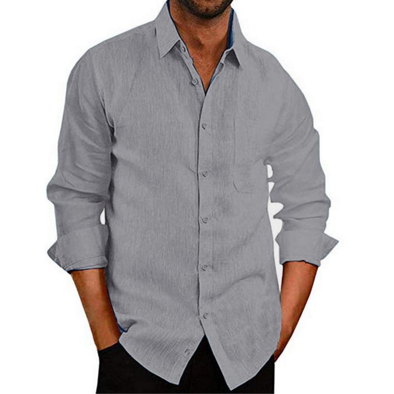 # 36 남자 셔츠 2021 솔리드 컬러 캐주얼 탑 긴 소매 칼라 버튼 회색 남성을 위해 회색으로 켜기 # Camisas Para Hombre Men 's