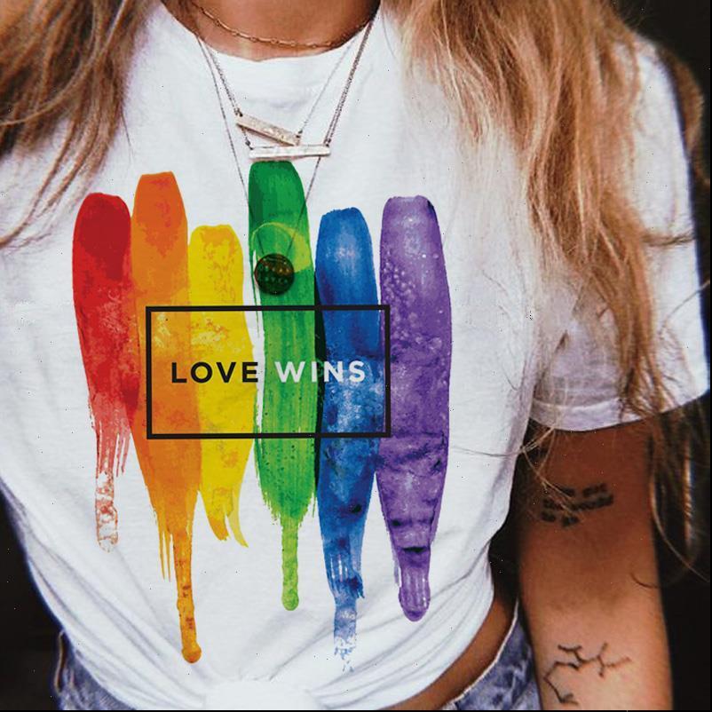 LGBT gay tee bisessuale womens t shirt love wins wins kawaii lesbian arcobaleno è femme