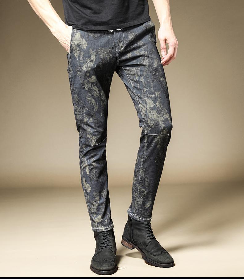 Erkek pantolon erkek rahat sonbahar Kore kot ince ayak streç pantolon gençlik kamuflaj