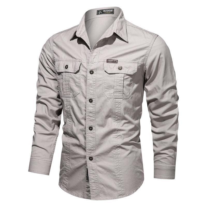 Slim Fit Hommes Chemises Business Casual Couleur Solide Manches Longues Pour Hommes Militaire avec Pocket Plussize 5XL Vêtements Homme