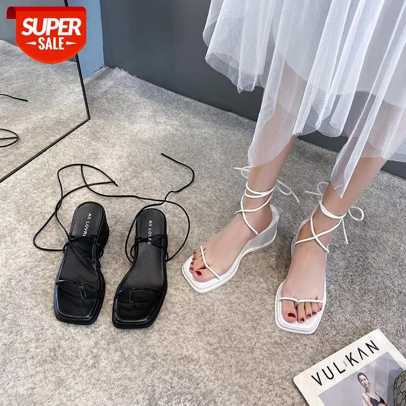 2021 Fashion Square Toe Wedges Women Sandals Lace Up Gladiator Sandal Back Strap Summer Shoes Casual Beach #zb8k