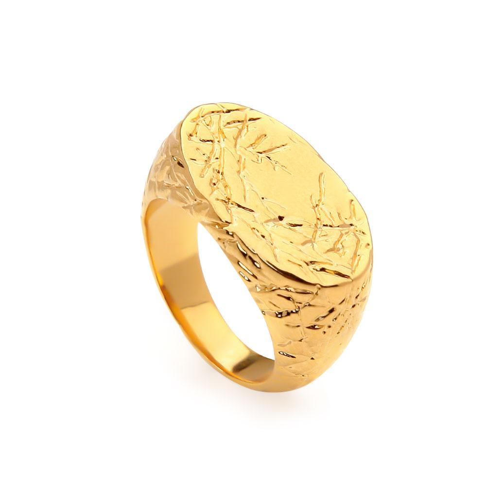 Nouvelle Arrivée 3D Effet 3D Forme ovale à la mode 18K Anneaux d'or Pure Pure pour femmes Bague de doigts pour femmes Bijoux Accessoires de fête Fête cadeau de mariage