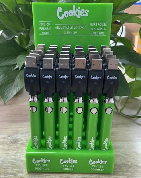 Gesetze Kekse Backwoods Vorheizvogel VV Twist Batterie 900mAh Unterspannung Einstellbar USB-Ladegerät Vape-Stift für 510 Patronen 30pcs in einem Anzeigebockel