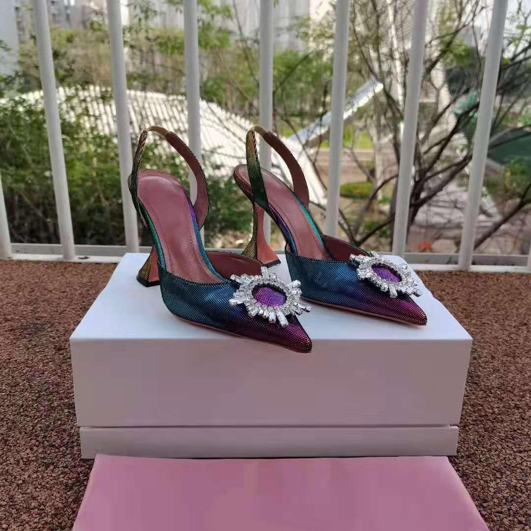Moda Sezon Ayakkabı Amina İtalya Muaddi Düğün Pompaları Begüm Gökkuşağı Kristal Slingback Çok Renkli Sandalet