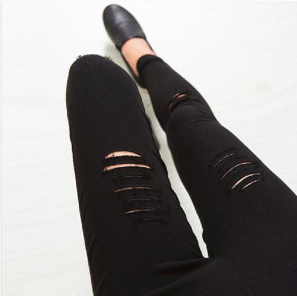 Coréen printemps automne femmes détruites pantalons capris boyfriendre trou minces pantalons élégants femmes longues longues trous de crayon maigre jeans mode mode