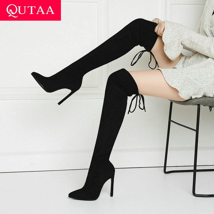 QUTAAA Moda de la moda con punta de punta de punta hacia arriba sobre las botas de la rodilla sexy delgado súper alto tacón alto estiramiento de tacón de invierno botas largas 34-43 210510