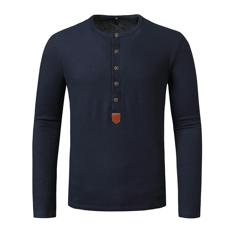 S-XXL 크고 키가 큰 크기 남성 정기적 인 장시간 소매 헨리 셔츠 가을 봄 가로복 셔츠 맨 의류 미국 캐주얼