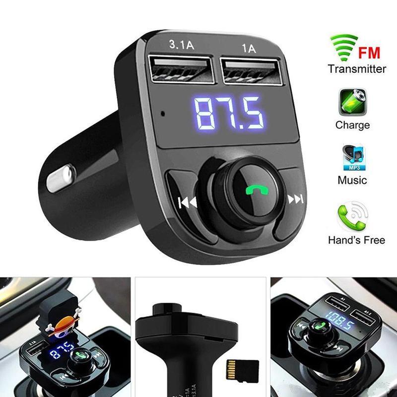 x8 자동차 FM 송신기 AUX 변조기 블루투스 핸즈프리 오디오 수신기 MP3 플레이어 3.1A 빠른 충전 듀얼 USB 상자 패키지