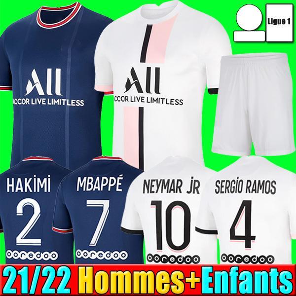 축구 키트 드 Maillots 21 22 SERGIO RAMOS HAKIMI PSG 축구 유니폼 2021 2022 MBAPPE ICARDI 마르 키 저지 셔츠 남자 아이 타이츠 드 발 카바 니를 설정 넷째 넷째