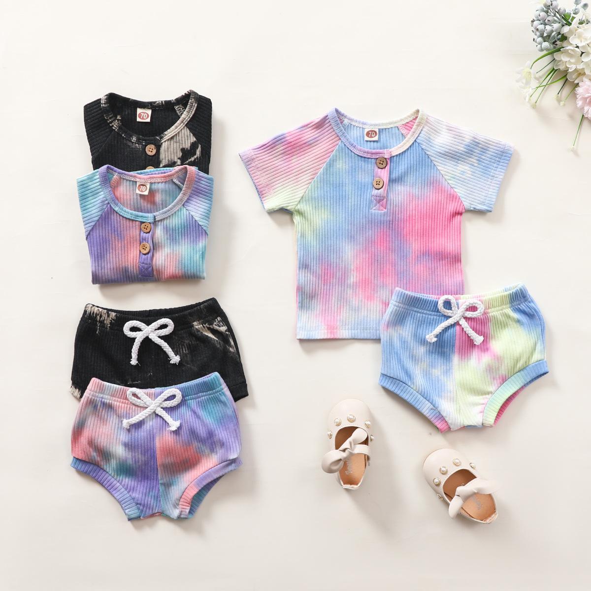 البيع بالتجزئة / الجملة الطفل الزي حديثي الولادة 2 قطع تتسابق مجموعة التعادل مصبوغ القطن الزى + pp السراويل رياضية الأطفال مصممين ملابس الاطفال بوتيك الملابس مجموعات