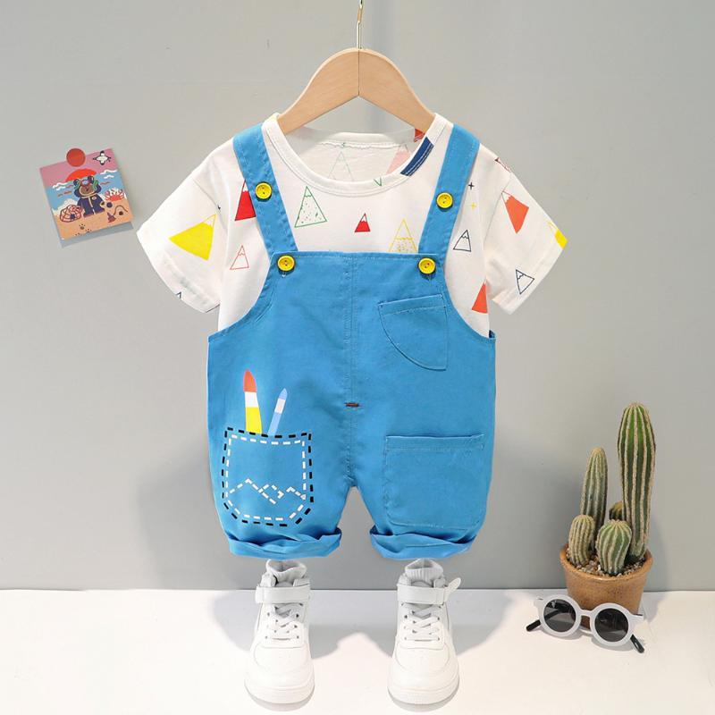 Summer Baby Boy Girl Sets Born Kids Short Sleeve Print T-Shirt+Suspender Shorts Two Piece Suit Soft Comfortable Outfit Clothing