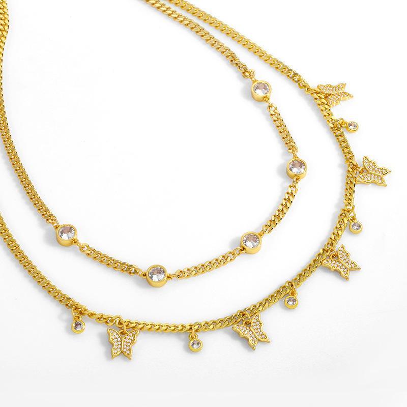 디자이너 새로운 스타일 장식 ins 넷 붉은 성격 여성의 멀티 나비 다이아몬드 목걸이 nkt30