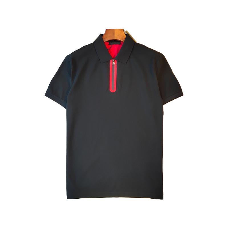 Mens Polos Camiseta Stripe Verão Camisetas Clássico Lapela Zipper Manga Curta Polo Elástico e Respirável T-shirt High Street M-2XL