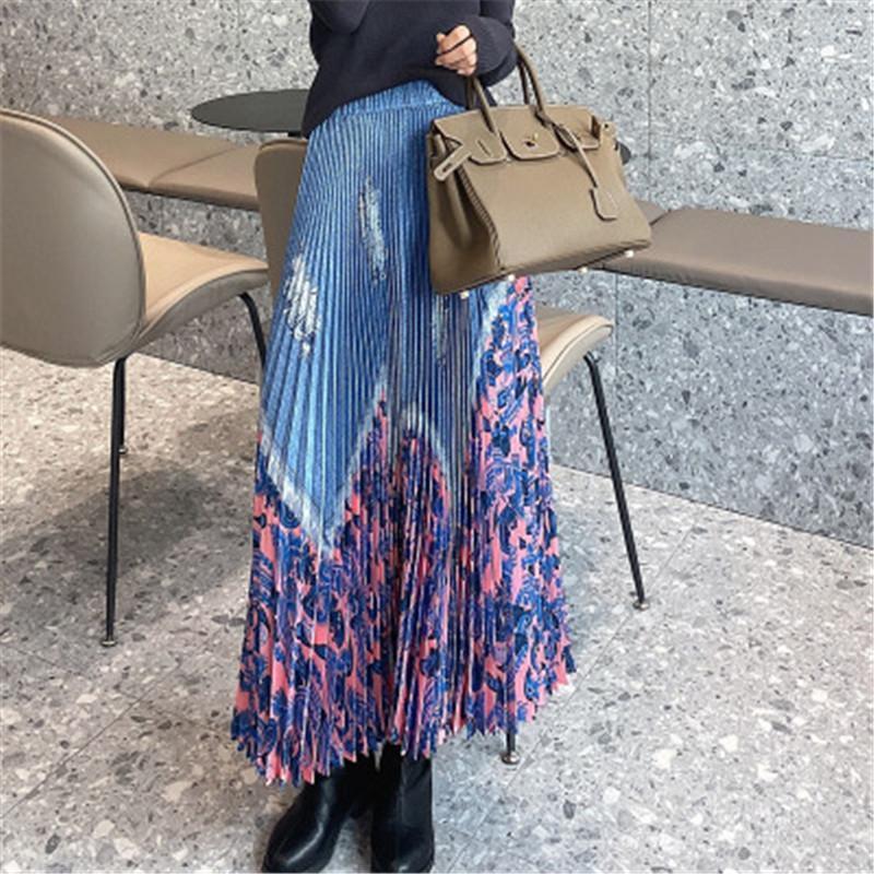 Skirts Miyake Handmade Pleated Printed Skirt Female High-waist A-line Was Thin Spring And Summer Retro Style Women