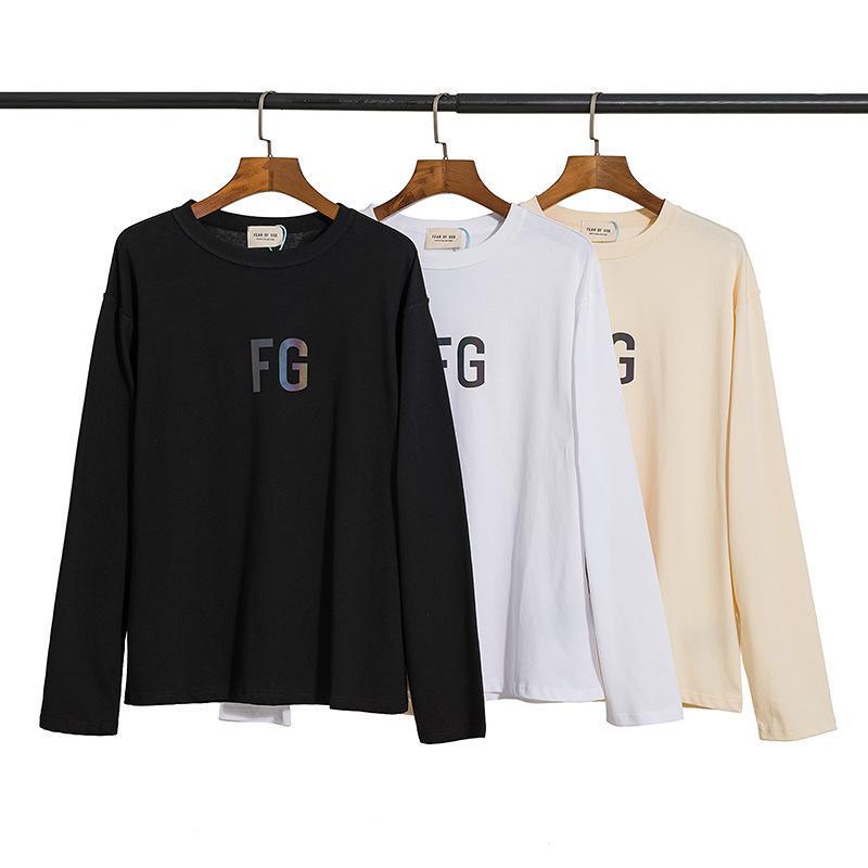 6 FOG Stagione Reflective FG Lettera FG Collo rotondo T-shirt a manica lunga moda OS SOLL manica lunga