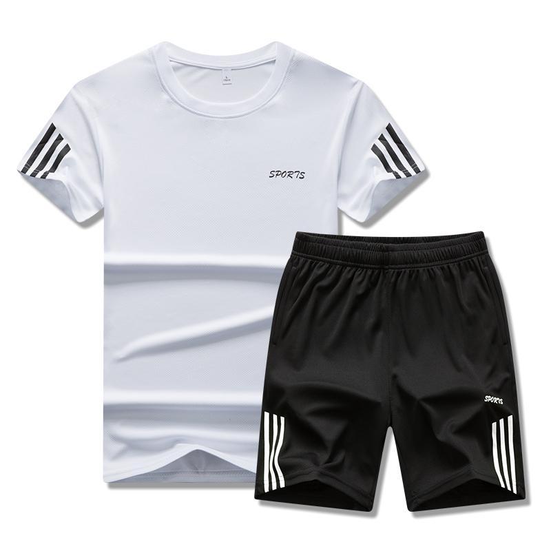 Collar 2021 New Traje Gimnasio Verano Rápido Dryingmen Camiseta de manga corta de dos piezas Set de dos piezas Correr transpirable Casual