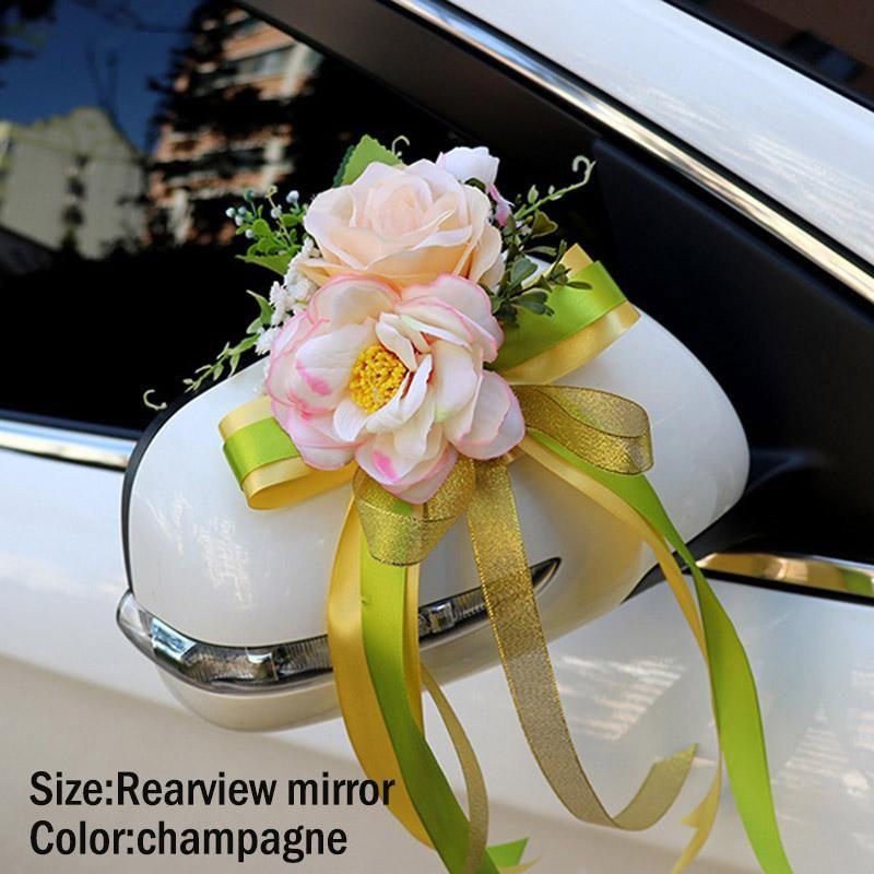Hochzeitsauto Dekoration Blume Türgriffe Rückspiegel Dekorieren Künstliche XKW Dekorative Blumen Kränze