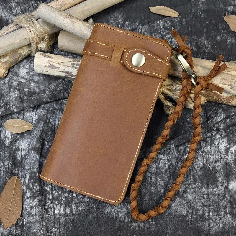 Мода Бриддный кожаный длинный кошелек с плетеным наручным ремешком Подлинные кошельки кошельки женские мужчины карты
