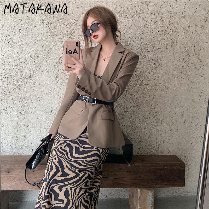 Matakawa Bouton Simple Boutons Simple Blazers coréens costume chic blazer Femmes printemps Nouveau costume mi-longueur casual manteau à manches longues