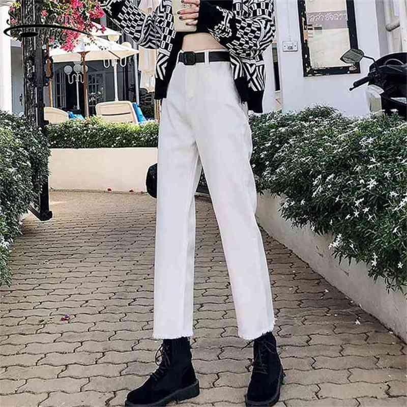 High Waist Women Plus Size Boyfriend Jeans Autumn Casual Denim Trouser Straight Vintage with White Blue Black 10425 210415