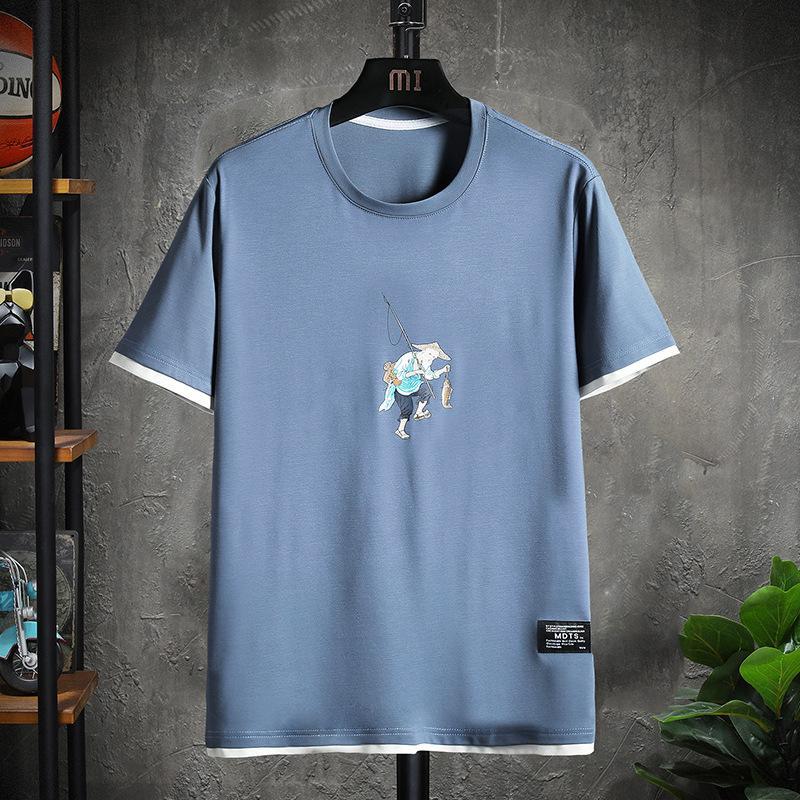 Gençlik Moda Yuvarlak Boyun T Gömlek Açık Spor Karikatür Baskı Yaz Kısa Kollu Rahat Gevşek Uygun Mens Boyutu S-4XL