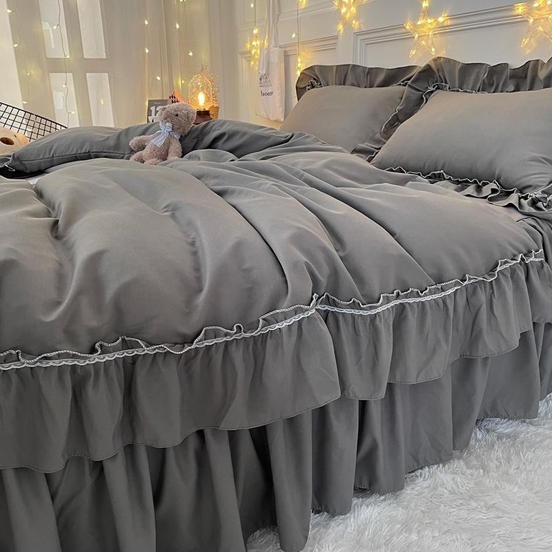 Bettwäsche Sets Chic dunkelgrau Bauernhaus Lange Rüschen Bettbezug Bettkirt Kissenbezug gebürstet Mikrofaser-Set voller Größe 3 / 4pcs Einfache Pflege