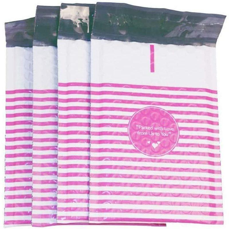 Bolsas de embalagem 50 pcs mailer poli bolha acolchoada mailing envelopes para presente embalagem auto selo saco estando listras rosa