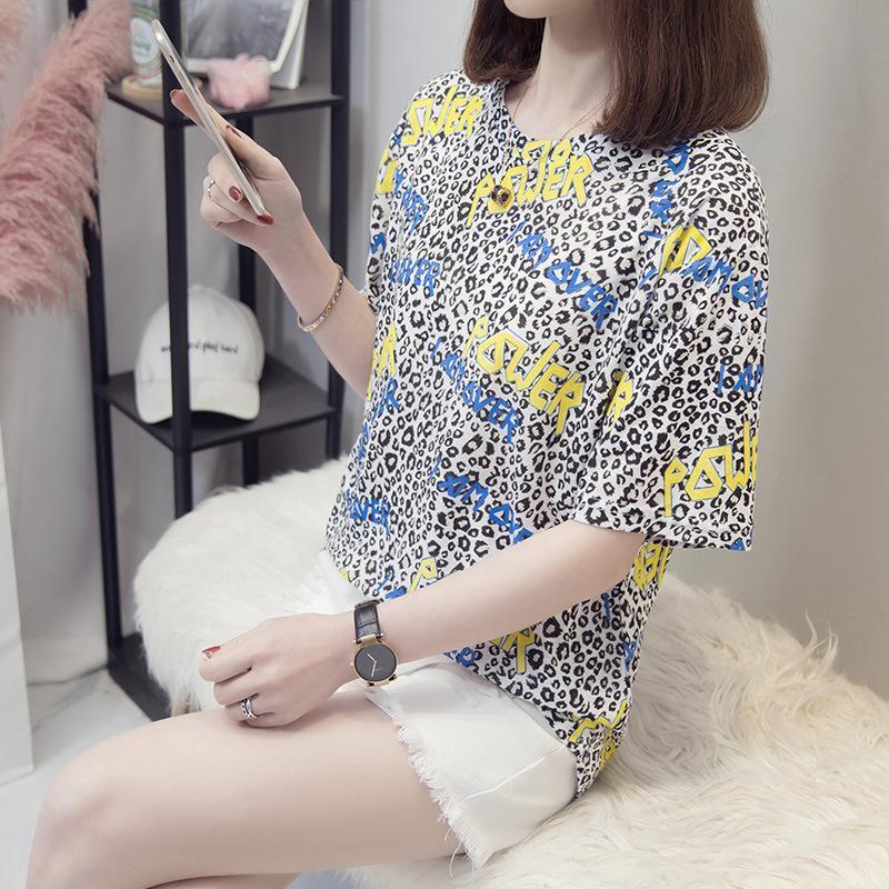 T-shirt Frühlings- und Sommer-Frauen-Top-Leoparden-Druck Runde ne Kurzarm-T-Shirt