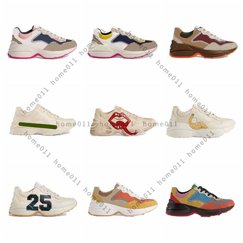 كلاسيكيات جلد حذاء فاخر مصممين أحذية مع الفراولة موجة الفم النمر النمر ويب طباعة خمر المدرب عارضة الأحذية HM011 PG01
