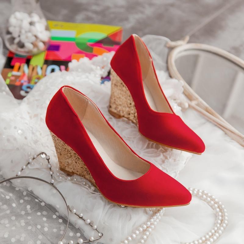 Dress Shoes Donne tacchi alti tacchi a forma di piattaforma femmina pompe elegante cinturino alla caviglia da sposa matrimonio autunno puntato singolo 43