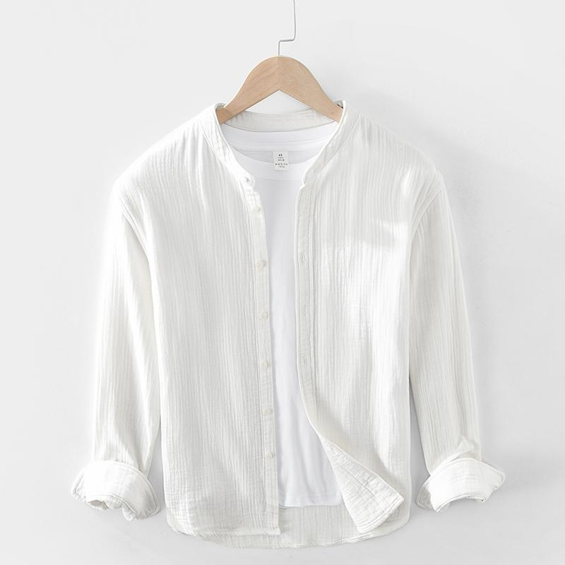 일본 스타일 프리미엄 품질 더블 사이드 코튼 원사 솔리드 컬러 남성 클래식 간단한 캐주얼 옷깃 셔츠 긴 소매 블라우스 남성 남성 셔츠