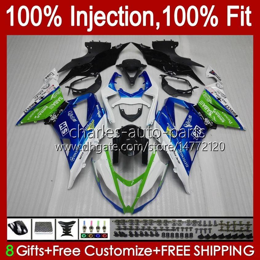 Corps OEM pour Kawasaki Ninja ZX-636 ZX-6R ZX600 ZX 6R 6 R 636 600 CC 12NO.16 ZX6R 13 14 15 2016 2017 2018 600CC ZX636 2013 2014 2015 16 17 18 Farécages d'injection Nouveau bleu vert bleu